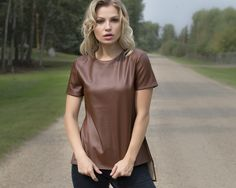 Michele Top | MADA Boutique Fall 2015, Shirt Dress, T Shirt, Vegan Leather, Short Sleeve Dresses, Boutique, Collection, Tops, Fashion