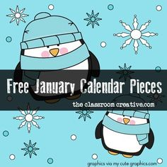 $0.  Free printable January calendar pieces.  Super cute.    Could also be used for ordering numbers, patterns, or evens/odds for a winter math center.    Get ready for back to school after break!