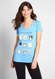 """All the feline lovers out there can relate to this blue graphic T-shirt—probably a little too well! Chances are that you own one of the types of cats displayed on this comfy, cotton-blend tee. From """" to """"Wait-Til-You Other Outfits, Plus Size Outfits, Tees For Women, Clothes For Women, Occasion Maxi Dresses, Types Of Cats, New Arrival Dress, Cat Shirts, Trendy Tops"""