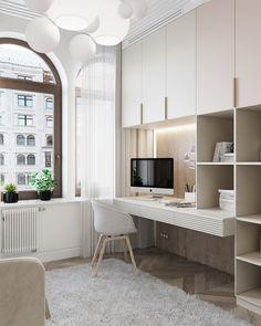 "Lcd ""russische haus"" on behance Cozy Home Office, Home Office Design, Home Office Decor, House Design, Home Decor, Office Desk, Apartment Interior, Apartment Design, Room Interior"