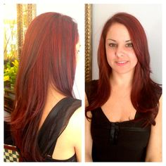 Rich red color and long layered cut by Axle Color Studio master stylist Megan Vitale.  www.axlecolorstudio.com