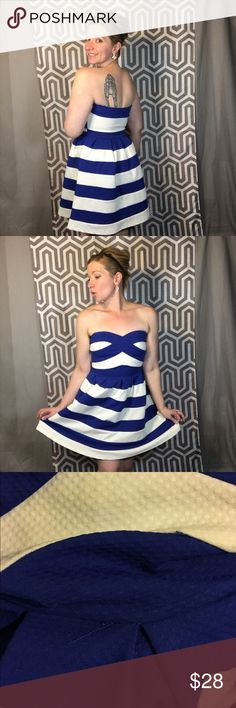 Blue and White Striped Flare Dress Is it summer yet? Just like it's always 5 o'clock somewhere -it's also always warm enough somewhere for this beauty. I way overpaid for this at a boutique-granted, it's a thick material and has a cool semi-seersucker texture, but still. I wore it once. Now it's your turn. Nautical, pinup, rockabilly, or yacht club...this lovely little numbers the right choice. Pair with cutie patootie shoes. The size tag fell out but it's a large. Dresses Strapless