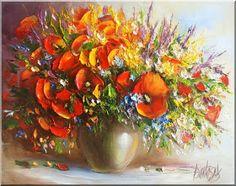 Malarstwo i Fotografia - Ewa Bartosik: Kwiaty Polne Watercolors, Plants, Paintings, Artists, Jewels, Paintings Of Flowers, Fotografia, Water Colors, Paint