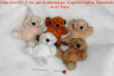 """Shirley Scheibehenne - teddy bears only 3 cm long (little over 1"""")  flexible with wire insert / head.  each one sells for 65 € (approx $78.50)"""