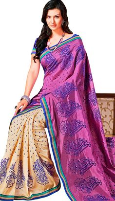 Beautiful Latest Pink Row Silk Casual Saree!  Visit efello.com for more info.