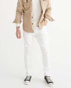 A&F Men's Slim Jeans in White - Size 29 X 32