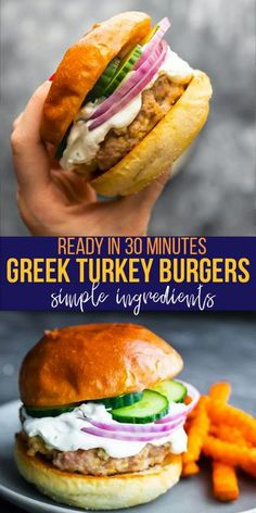 Healthy Lunches For Work, Easy Healthy Dinners, Quick Meals, Healthy Dinner Recipes, Cooking Recipes, Greek Burger, Greek Turkey Burgers, Lamb Burgers, Feta Burger Recipe