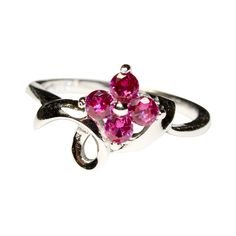 Ruby Flower Promise Ring Front