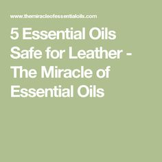 5 Essential Oils Safe for Leather - The Miracle of Essential Oils