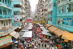 """""""Fa Yuen Street Market"""" stretches along the north part of Sportswear Street, in Mong Kok, and is full of shops that sell bargain-priced trendy fashion and casual wear for men, women and children...    By wai_hok, via Flickr"""