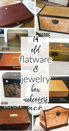 Paper Jewelry, Old Jewelry, Jewelry Box Makeover, Bottle Box, Bird Boxes, Crafts To Do, Keepsake Boxes, Flatware, Decorative Items