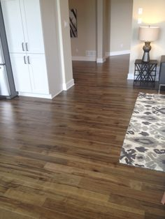 New current #1 choice- Lauzon's new Organik Hard Maple hardwood flooring Charm which features our new Pure Genius. The one and only air-purifying smart hardwood floor. This picture has been taken in a model home by Tartan Homes.