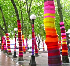 Love this....Yarn bombing is a type of street art, which instead of using chalk or paint, utilizes colorful installations of knitted or crocheted yarn.