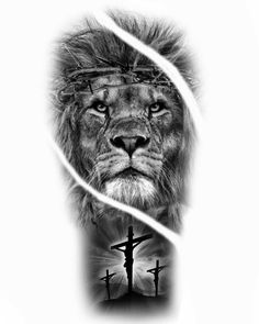 Religious Tattoo Sleeves, Crucifix Tattoo, Lion Drawing, Jesus Tattoo, Lion Tattoo, Sleeve Tattoos, Tatoos, Black And Grey, Tattoo Designs