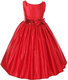 AkiDress Boatneck Satin Dress with Sequin Waist for Big Girl Red Red 12 >>> Be sure to check out this awesome product.