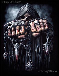 Waa, skulls and things Grim Reaper Art, Grim Reaper Tattoo, Ghost Rider Wallpaper, Skull Wallpaper, Arte Bob Marley, Skull Game, Reaper Drawing, Death Tattoo, Heavy Metal Art