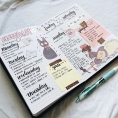 anne-alytically: & 20170809 & & & Decided to start a new bujo for the school year and this is my first theme. This week& spread features on of my favorite Hayao Miyazaki movies which is Kiki& Delivery Service. Bullet Journal School, Bullet Journal Ideas, Bullet Journal Aesthetic, Bullet Journal Writing, Bullet Journal Spread, Bullet Journal Layout, Journal Pages, Bullet Journals, Filofax