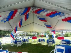 Patriotic Balloon Garland in a tent - UMOJA EVENTS