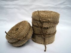 Burlap Ribbon Stitched 1 wide 5 yards Rustic by theruffleddaisy, $6.00