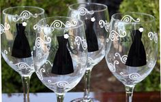 Personalized bride and bridesmaids wine glasses - shown in black and white.
