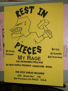 My Rage Rest In Pieces 1980s Record Release Flyer One Step Ahead Records SF
