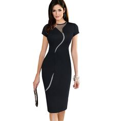 Sexy Illusion Slim Mesh Women Clubwear Full Zip Back Black Patchwork dress Tag a friend who would love this! Visit us