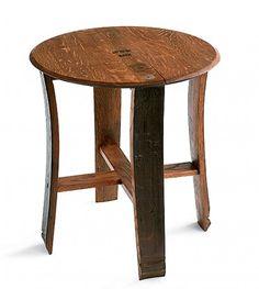 #InspiredGreenLiving - Retired Wine Barrel Stave Table.