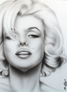 New-pinup-portrait-painting-MARILYN-MONROE-black-white-hair-over-right