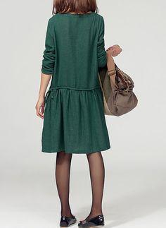 Green linen dress maxi dress tunic dress cotton by lsmartmiss