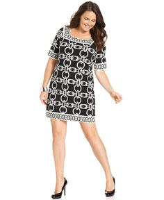 Alfani #plussize dress on sale for $58.99.  0x-3x. I love the pattern on this dress!