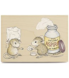 place on inside of Rx cabinet    Stampabilities House Mouse Rubber Stamp - Chewable Aspirin
