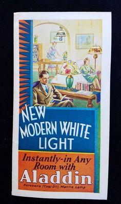 1932 Advertising Leaflet ALADDIN Kerosene Mantle Lamp Co Chicago IL Color Shades
