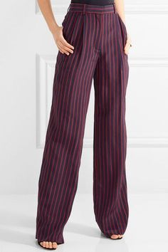 c34c978e7b Sonia Rykiel - Pleated Striped Silk Crepe De Chine Wide-leg Pants - Blue