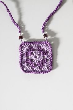 Mini Granny Square Necklace in Purple by mygiantstrawberry on Etsy