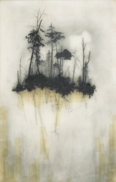 Reflection ~ resins and transparent tape over graphite drawing | Brooks Shane Salzwedel