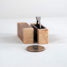 Tiny Engagement Ring Box of Acacia Wood and Birds Eye Maple Wood.  Listed on my Etsy shop.