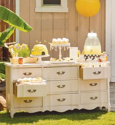 Bee-Party-Dessert-Table.. What a cute theme.. Bee Cause its your birthday, its a boy, etc.. Super cute