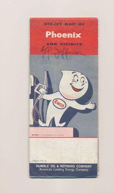 vintage paper ephemera Enco gasoline map of Phoenix Arizona / 1960s by mudintheUSA on Etsy