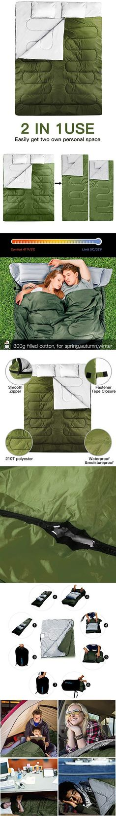 Idealhouse Double Sleeping Bag Queen Size 87 X 59 Waterproof Outdoor Backing