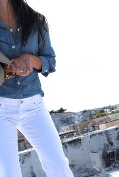 LUV denim shirt, white jeans, and sky blue nail polish...wouldn't normally like blue polish, but this works!