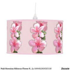 Pink Hawaiian Hibiscus Flower Pendant Lamp