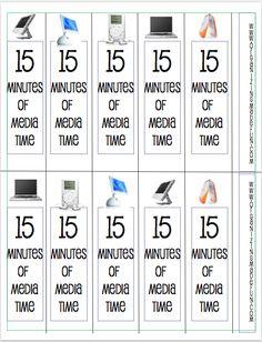 Free printable - media minutes to help keep track of kids' screen time