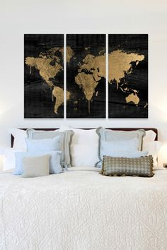 Mapamundi Gold Canvas Wall Art - Set of 3 | by The Oliver Gal Artist Co.