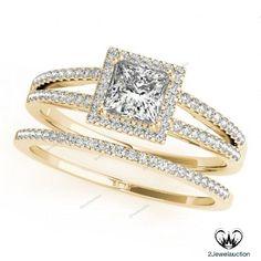 2.5/6 Ct Princess Cut D/VVS1 Diamond With 14K Yellow Gold Finish Bridal Ring Set…
