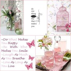 Pink, do one thing every day that makes you happy. Love Collage, Beautiful Collage, Beautiful Words, Color Collage, What Makes You Happy, Are You Happy, Collages, Colour Board, Color Stories