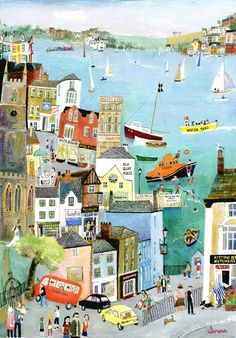 """Bus Ride through Fowey"" Original Painting by Serena, Cornish Naive Artist. Available as limited edition prints and blank art-cards. Naive Art, Children's Book Illustration, Building Illustration, Creative Illustration, Illustrations And Posters, Painting & Drawing, Folk Art, Art Drawings, Art Gallery"