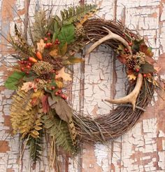 my deer antler wreath smaller slightly different than the crafts, seasonal holiday decor, wreaths Fall Wreaths, Christmas Wreaths, Christmas Decorations, Xmas, Christmas Christmas, Antler Wreath, Hunting Wreath, Deer Antler Crafts, Antler Art