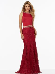 8fad305c06f Sheath Jewel Beads Open Back Lace Two-piece Red Blue Sleeveless Floor  Length Evening   · Best Prom Dress ...