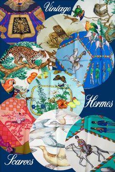 Hermes scarfs, love the collage,  farandole, ballade de heian, armee russe, poste et cavalerie,  Kenya, equateur and sauvagine en vol