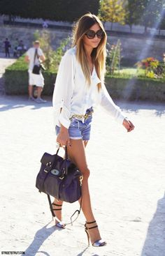 jean shorts and a white button up <3
